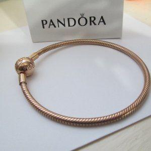 Authentic PANDORA Rose  gold smooth  Bracelet